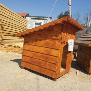 Cușcă de câine, lemn masiv de pin și brad, acoperis plat