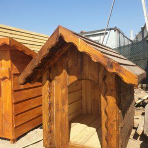 Cușcă de câine, lemn masiv de pin și brad, acoperis in doua ape